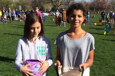 Kids finding eggs